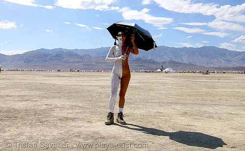 body-paint - burning man 2007, body art, body paint, body painting, burning man, half, topless woman, umbrella, white
