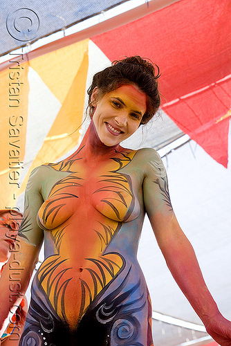 body paint - burning man 2008, body art, body paint, body painting, breasts, burning man, center camp, topless woman
