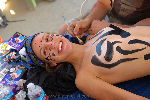 body paint - girl - burning-man 2006, body art, body paint, body painting, breasts, burning man, center camp, topless woman