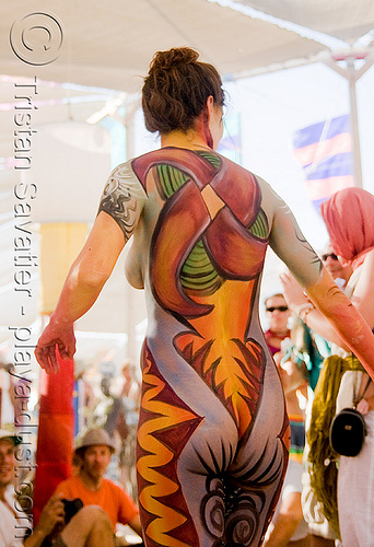 body paint - girl - burning man 2008, body art, body paint, body painting, burning man, center camp, topless woman