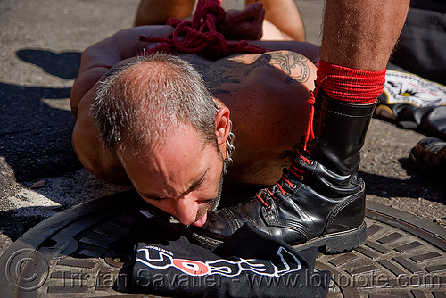 boot licking - dore alley fair (san francisco), bondage, boot licking, dore alley fair, fetish, leather, men