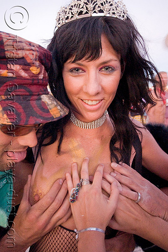 breast exam, breast exam, burning man, hands, topless, woman
