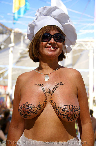 breast mehndi - henna tattoo - burning man 2007, body art, burning man, chef, henna tattoo, mature woman, mehndi designs, sunglasses, temporary tattoo, topless