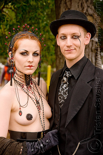 calamity lulu and neil girling (aka mr nightshade) - burning man decompression 2009 (san francisco), burning man decompression, couple, necklace, neil girling, woman