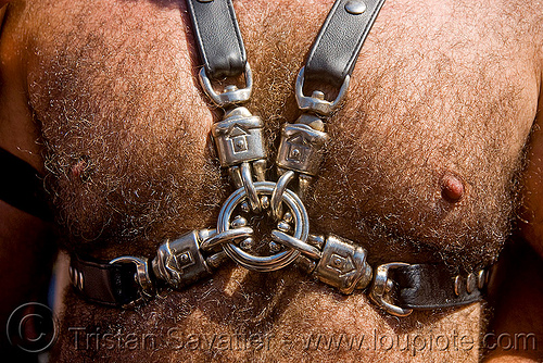 chest straps - dore alley fair (san francisco), bondage, buckles, chest straps, fetish, hairy chest, hairy man, leather, ring