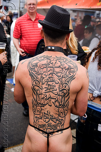chinese back tattoo, backpiece, chinese tattoo, dore alley fair, hat, tattooed, tattoos