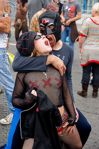 couple - dore alley - up your alley fair (san francisco), batman mask, couple, dore alley fair, see-through, sheer top