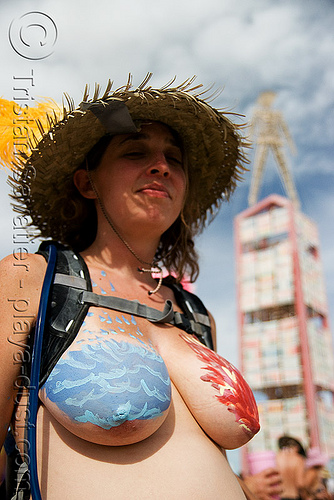 critical tits - burning man 2008, alexis, body art, body paint, body painting, breasts, burning man, ice and fire, straw hat, the man, topless woman