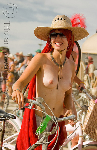critical tits - ruth - burning man 2008, bicycle, bike, burning man, red, straw hat, sunglasses, topless, woman