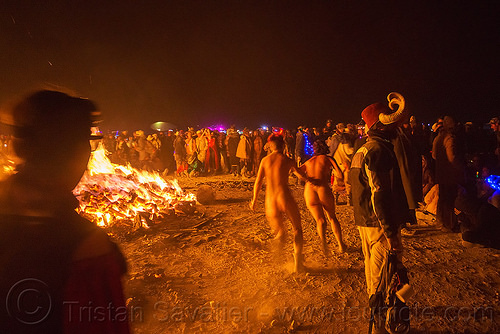 crowd around the big fire - burning man 2015, burning man, crowd, fire, night of the burn, nude, running
