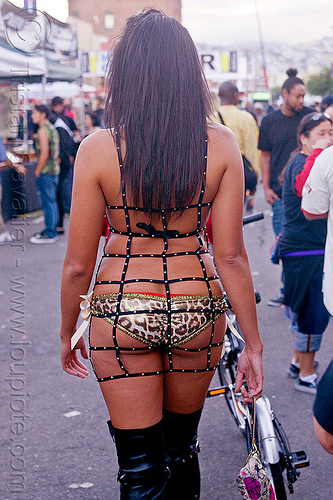 curvy woman's back - folsom street fair (san francisco), bondage fashion, lingerie, straps, underwear, woman