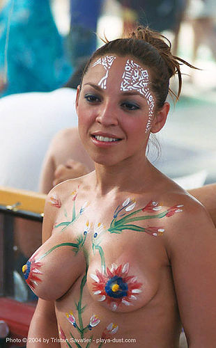 diana - body paint - burning-man 2003, body art, body paint, body painting, breasts, burning man, dave lyle, diana, topless woman