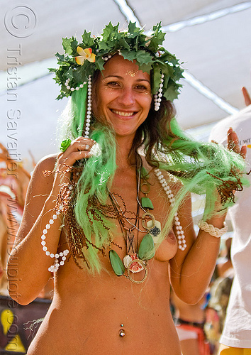 eve, breasts, burning man, center camp, crown, eve, green wig, headdress, headwear, leaves, maude, navel piercing, topless woman