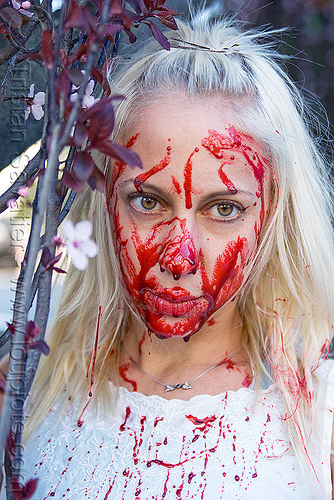 fake blood halloween makeup - young blond woman (san francisco), bleeding, blonde, fake blood, halloween, makeup, red, special effects, stage blood, theatrical blood, woman, zombie