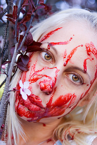 fake blood halloween makeup - young blond woman (san francisco), bleeding, blonde, fake blood, flower, halloween, makeup, red, special effects, stage blood, theatrical blood, woman, zombie