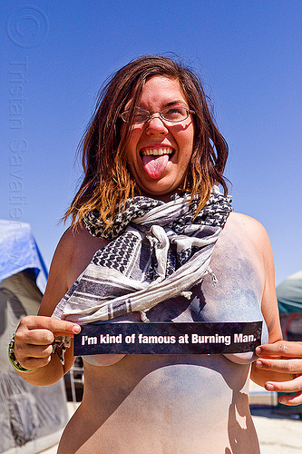 famous girl - burning man 2012, bodypaint, bumper sticker, burning man, famous burner, scarf, topless woman