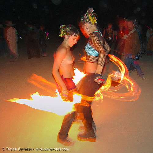 fire dancers decon and raine - burning-man 2005, burn, burning man, fire dancers, flames, night, raine, shaina