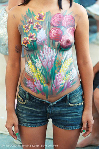 flower body paint - burning-man 2003, body art, body paint, body painting, breasts, burning man, flowers, scott fray, ton, topless woman