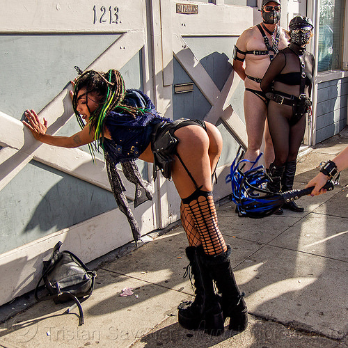 folsom street fair 2015 (san francisco), ass, bondage, dbsm, fashion, fetish, fishnet stockings, flagellation, flogging, platform boots, shannon, spanked, spanking, whip, whipped, woman