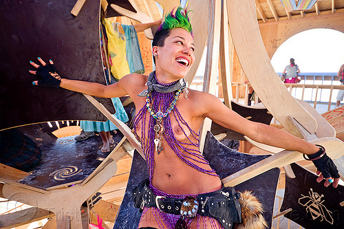 foxy - burning man 2012, beads, bee here now!, belt, burning man, foxy, gloves, green hair, necklaces, purple, topless woman