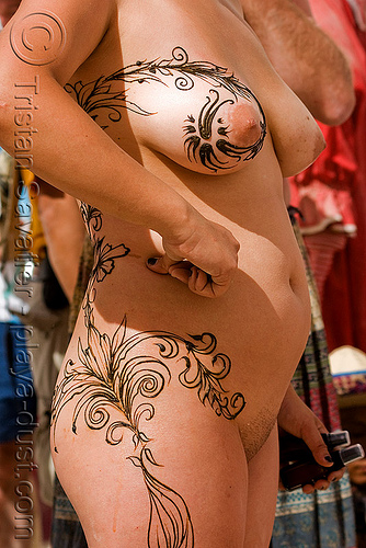 full body mehndi - henna tattoo - burning man 2008, body art, burning man, henna tattoo, mehndi designs, nude, temporary tattoo, topless, woman