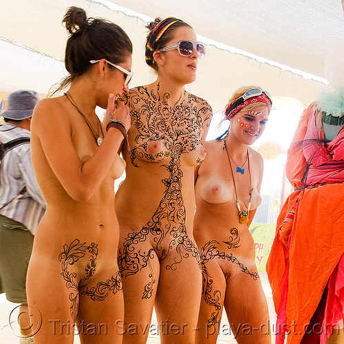 full body mehndi - henna tattoo - burning man 2008, body art, burning man, henna tattoo, mehndi designs, nude, temporary tattoo, topless, women