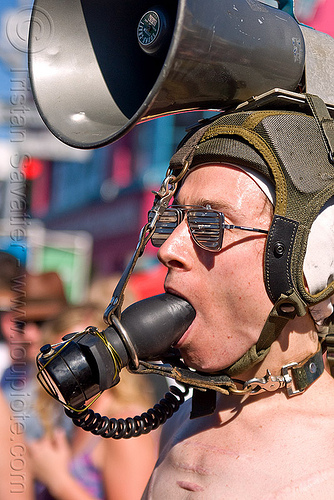 gag and bull horn, bondage, bull horn, butt plug, gag, gagged, man, pilot helmet, sunglasses, the accretion