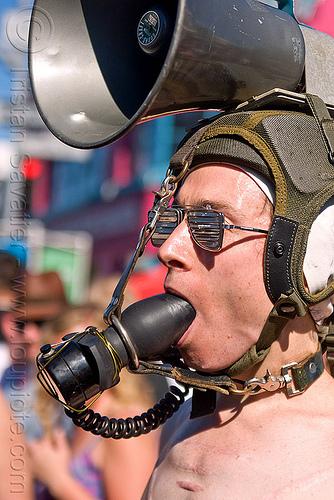 gag and bull horn, bondage, bull horn, butt plug, folsom street fair, gag, gagged, man, pilot helmet, sunglasses, the accretion