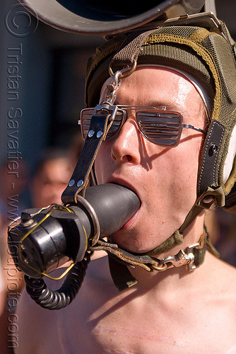 gagged with butt plug, bondage, butt plug, folsom street fair, gag, gagged, man, pilot helmet, sunglasses, the accretion
