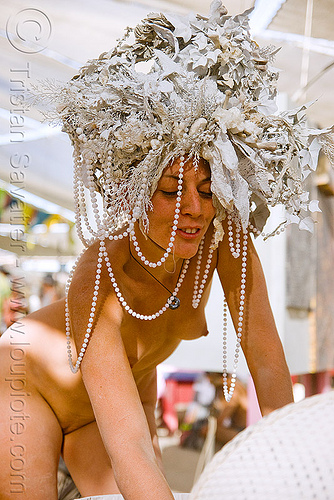 DSC08694 - burning man 2009 - goddess with white hat and beads, beads, burning man, goddess, hat, head-dress, topless woman