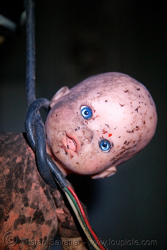 hanging doll - abandoned hospital (presidio, san francisco) - PHSH, abandoned building, abandoned hospital, baby doll, blood, creepy, dark humor, dark humour, dead baby, death, evil, found art, gore, gory, hanging, presidio hospital, presidio landmark apartments, red, spooky, trespassing, voodoo