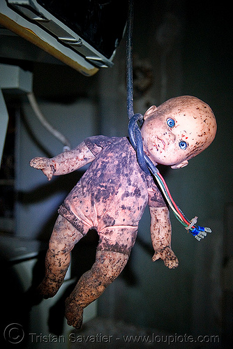hanging doll - abandoned hospital (presidio, san francisco) - PHSH, abandoned building, abandoned hospital, baby doll, blood, creepy, dark humor, dark humour, dead baby, death, evil, found art, gore, gory, hanging, hitchcock, horror, presidio hospital, presidio landmark apartments, red, spooky, trespassing, voodoo