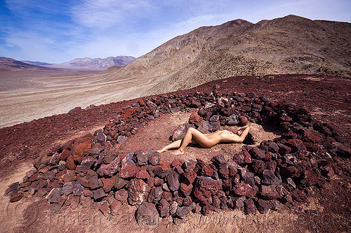 heart of stone, basalt, death valley, desert, heart, igneous rocks, mountains, naked, nude, saline valley, stones, sunbathing, topless woman, volcanic rocks, volcano