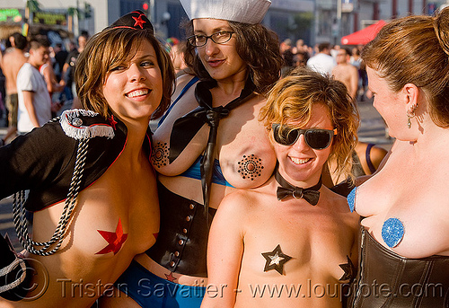 holly, karin sin, tina and friend - folsom street fair 2009 (san francisco), breasts, folsom street fair, holly, karin sin, red star, stars, tina, topless woman, women