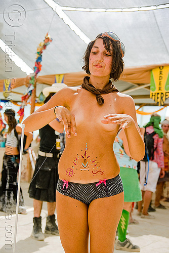 jessy with her magic wand - burning man 2009, burning man, center camp, jessy, magic wand, topless woman
