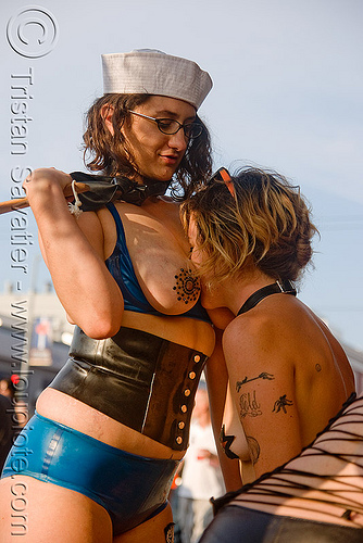 karin sin and tina - folsom street fair 2009 (san francisco), folsom street fair, karin sin, tina, topless woman, women