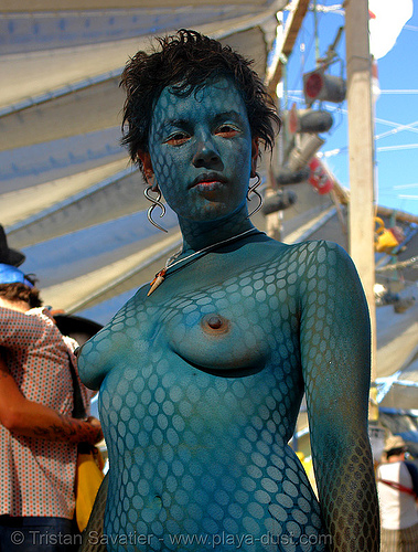 kirstin with blue snake-like body paint  - stencil airbrush - burning-man 2006, airbrush stencil, blue, body art, body paint, body painting, burning man, topless, woman