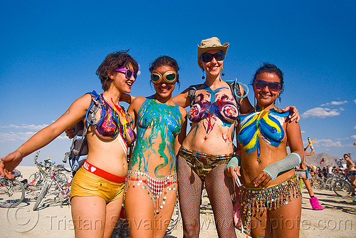 latex body painting - burning man 2009, body art, body paint, body painting, burning man, latex paint, topless woman, women