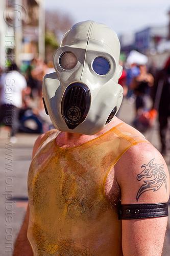 latex gas mask, gas mask, latex mask, latex shirt, man