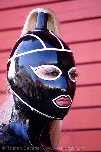 latex mask - bodysuit, black, bondage, fetish mask, folsom street fair, gwendolyn, latex bodysuit, latex mask, woman