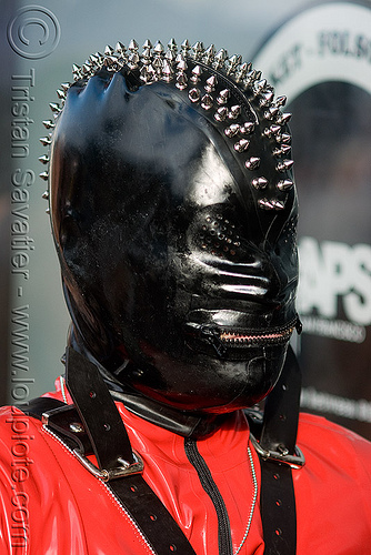latex mask with spikes - folsom street fair 2008 (san francisco), black, bondage mask, fetish mask, folsom street fair, latex mask, man, spikes