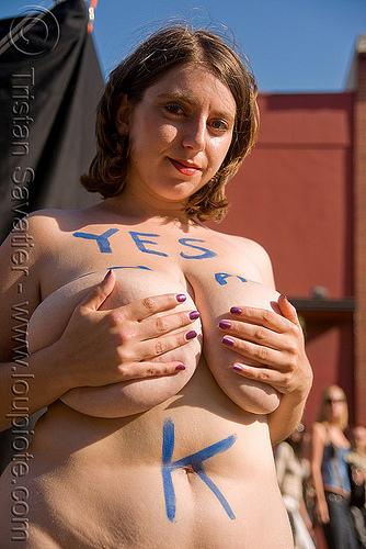 legalize prostitution - vote yes on prop. K (san francisco), breasts, folsom street fair, legalize prostitution, proposition k, sex worker, woman, yes on prop k