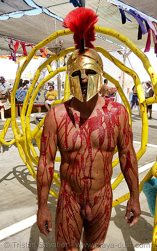 leonidas - burning man 2007, bloody, center camp, costume, fake blood, greek helmet, leonidas, man, naked, nude, red, stage blood, theatrical blood, theatrical helmet, warrior