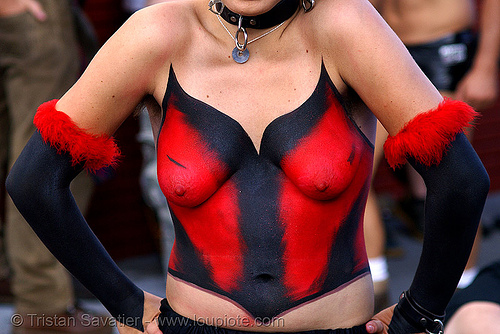 makeup by chrysalis rose - folsom street fair 2007 (san francisco), black, body art, body paint, body painting, breasts, chrysalis rose, corset, folsom street fair, red, topless woman