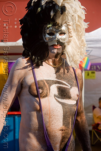 man with feather mask and body painting - folsom street fair 2009 (san francisco), black, body art, body paint, body painting, feathers, folsom street fair, man, mask, white