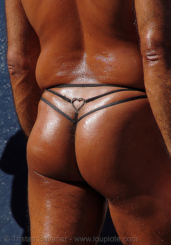 nice ass, g-string, gee-string, how weird festival, hunky, man, nice ass, oily, tanned, thong