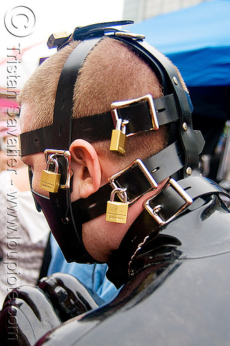 master lock - padlocks, black, bondage collar, bondage muzzle, dore alley fair, fetish, latex bodysuit, master lock, padlocks, straps