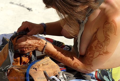 mehndi - henna - burning man 2007, arm, body art, breasts, burning man, center camp, henna designs, henna tattoo, mehandi, mehndi designs, sophia, temporary tattoo, topless woman