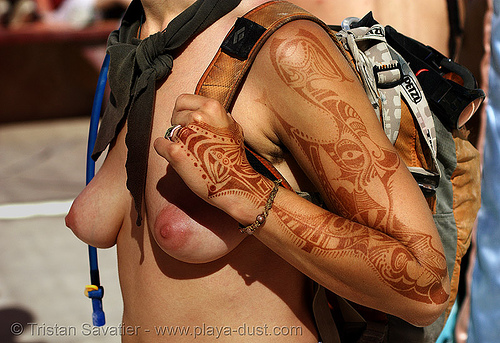 mehndi - henna temporary tattoo - burning man 2007, arm, body art, breasts, burning man, center camp, henna designs, henna tattoo, mehandi, mehndi designs, sophia, temporary tattoo, topless woman