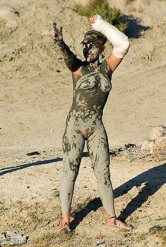mud bath - woman (trego hot springs, black rock desert, nevada), alice, black rock desert, mud bath, muddy, trego hot springs, woman